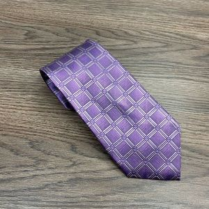 Jos A Bank Purple w/ Grey & Blue Windowpane Tie